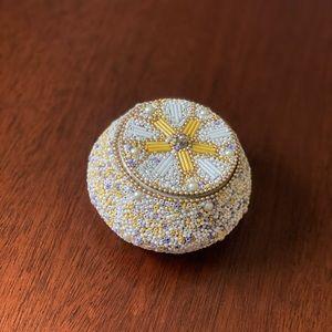 Anthro Trinket Box adorned w/ pearls & beads